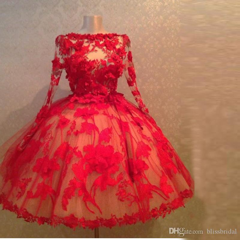 Vintage 1950S Style Red Lace Ball Gown Short Evening Dresses Long Sleeves Sheer Sexy Prom 2015 Women Formal Gowns With Appliques Ladies Clothing