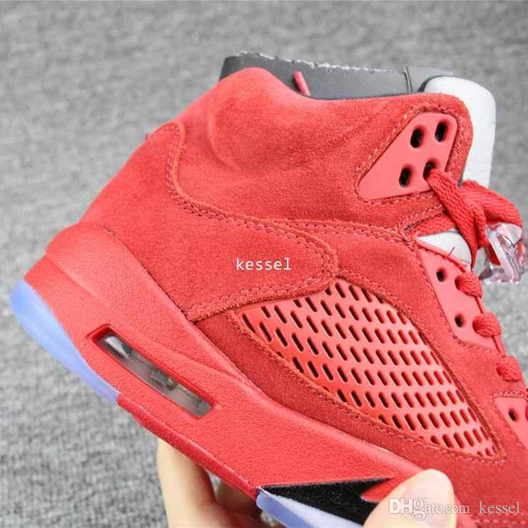 super popular 0e743 012e2 2017 Raging Bull Red Royal Suede Blue 5 V Mens Basketball Shoes Sports  Sneakers Trainers Men 5s Basket Ball Shoe Size 8 13 Cheap Sneakers  Basketball ...