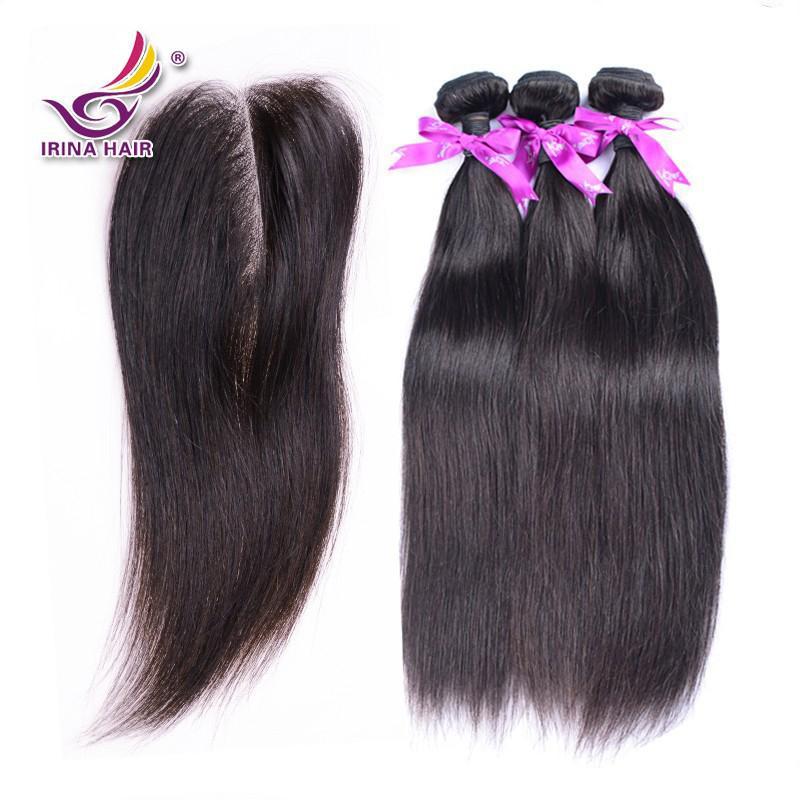 Ücretsiz orta 3 yollu bölüm 4 * 4 ile üst dantel kapatma düz Bakire Malezya ipeksi düz İnsan saç atkı 4 adet çok yumuşak remy düz örgü