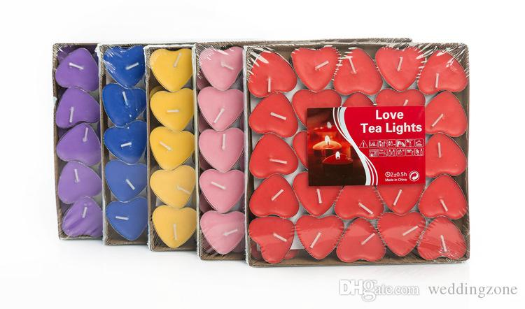 Heart-shaped Ghee Candle 2 Hours butter Candles Set of 50 TeaLight Candles Non-Smoking Votive Candle