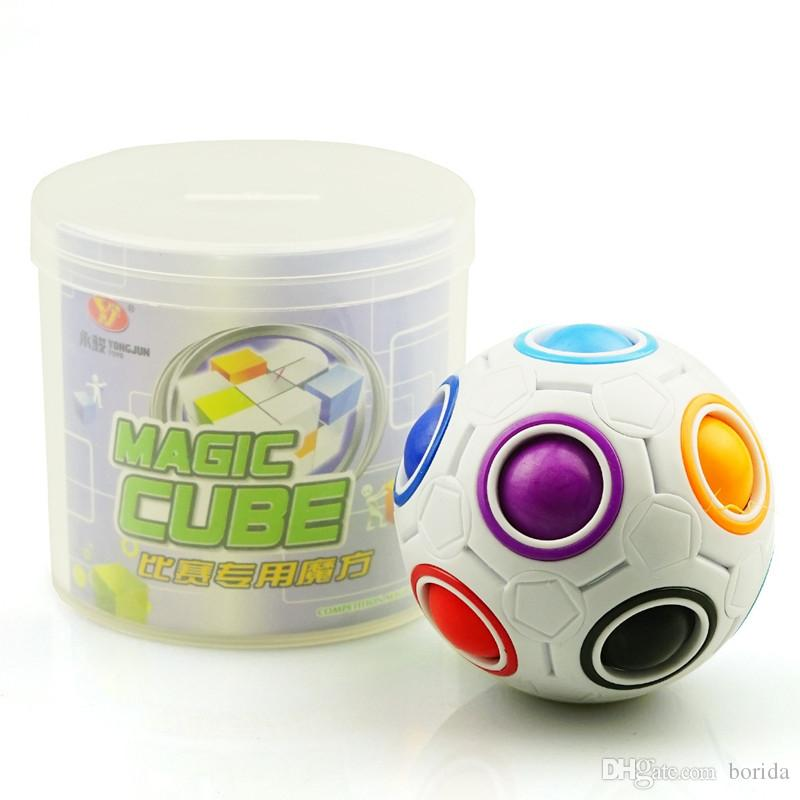 Rainbow Ball Magic Fidget Cube Speed Football Fun Creative Spherical Puzzles Kids Educational Learning Toys games for Children Adult Gifts