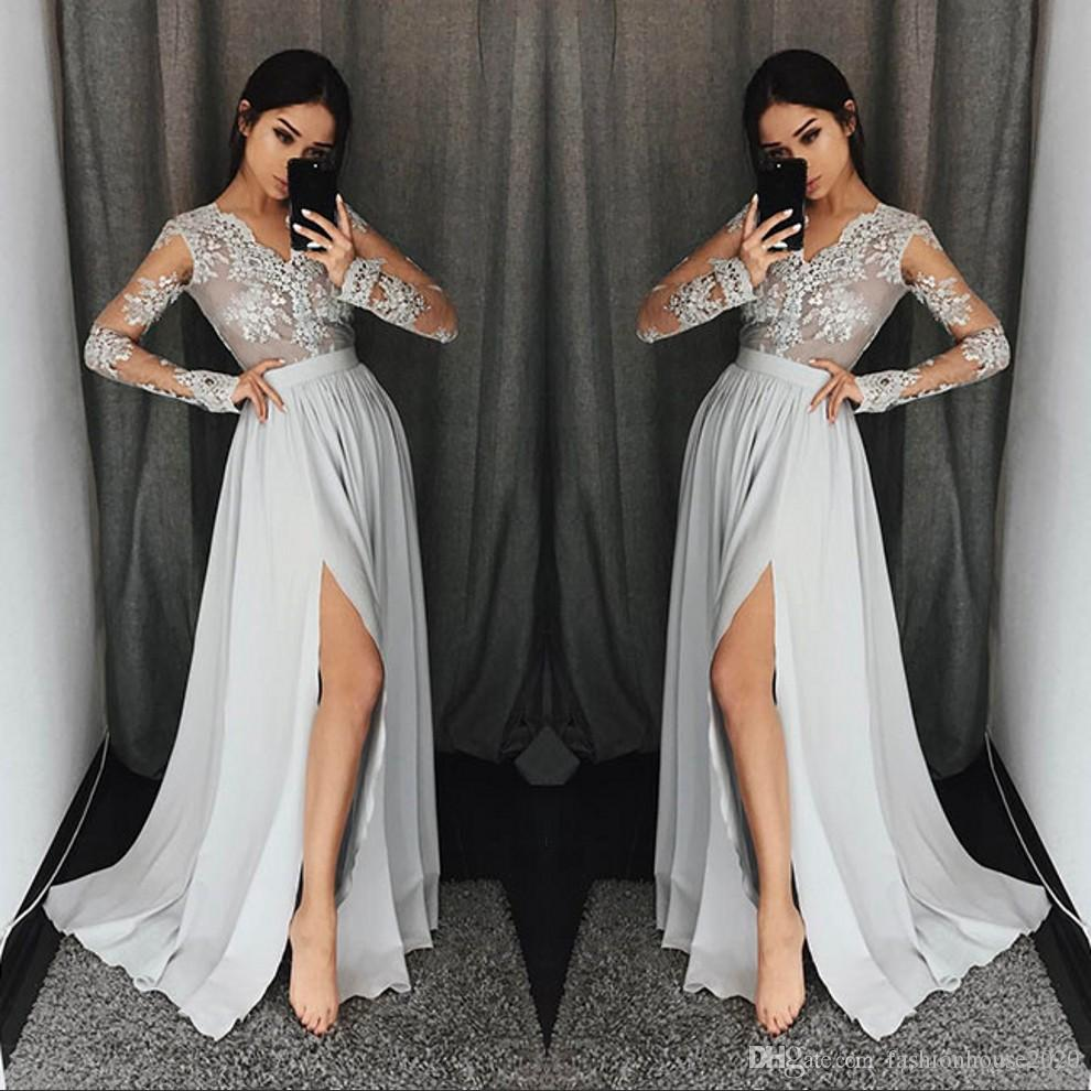 a89aee20baf3 Silver Grey Long Sleeve Prom Dresses Long V Neck Appliques Lace Formal  Party Gowns With High Split Modest Evening Dress Original Prom Dresses  Petite Prom ...
