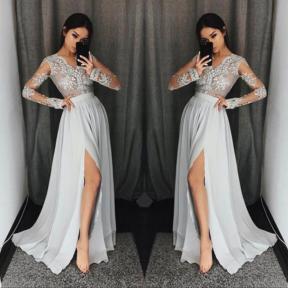 Vestidos de fiesta de manga larga de color gris plateado con cuello en vy  apliques de encaje vestidos de fiesta formales con vestido de noche modesto  de ... d88f3498a248