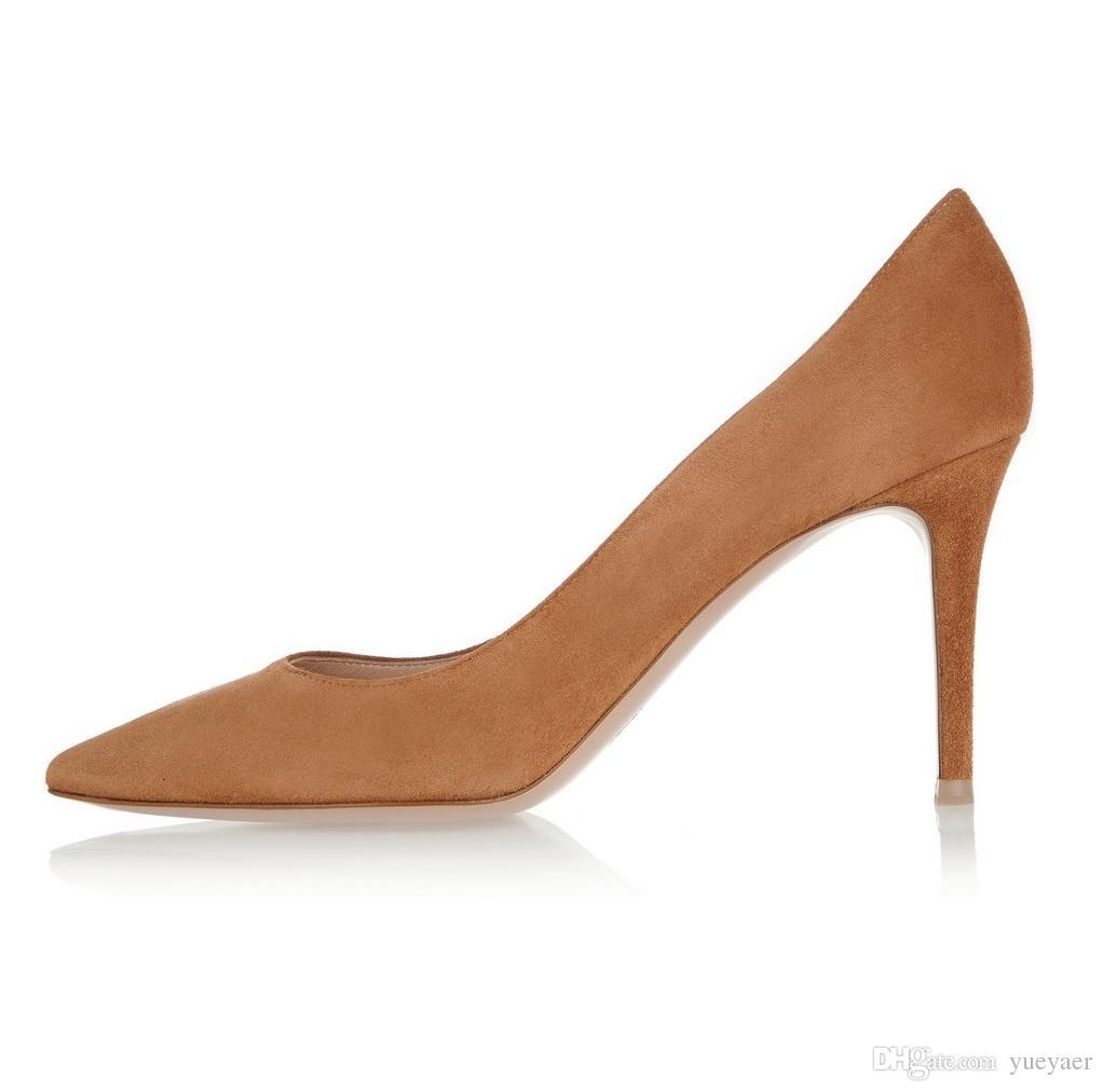 Zandina Handmade Fashion 8cm High Heel Pumps Simple Style Slip-on Pointy Party Evening Wedding Stiletto Shoes Brown K368