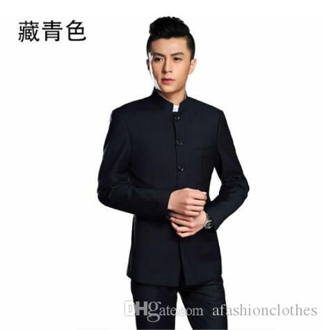 48d60ea7ae2 2019 Blazer Men Formal Dress Latest Coat Pant Designs Chinese Tunic Suit Men  Costume Marriage Wedding Suits For Men S Stand Collar From Afashionclothes
