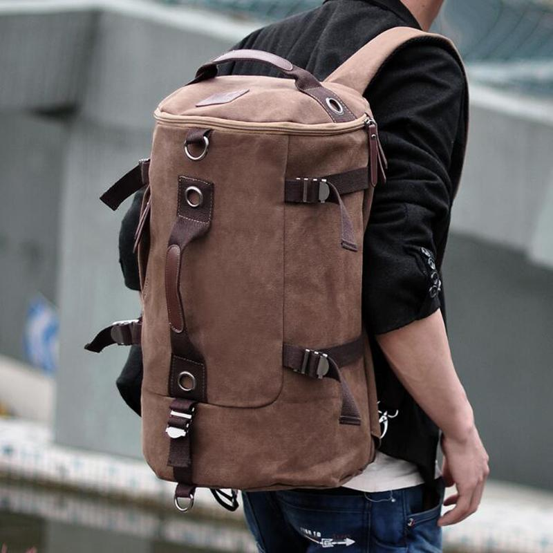 2f66110944 Korean Men Canvas Backpack Letter Print Large Travel Backpack Male Computer  Multi Function Backpacks PU Leather Round Duffle Bag Camping Backpack  Backpacks ...