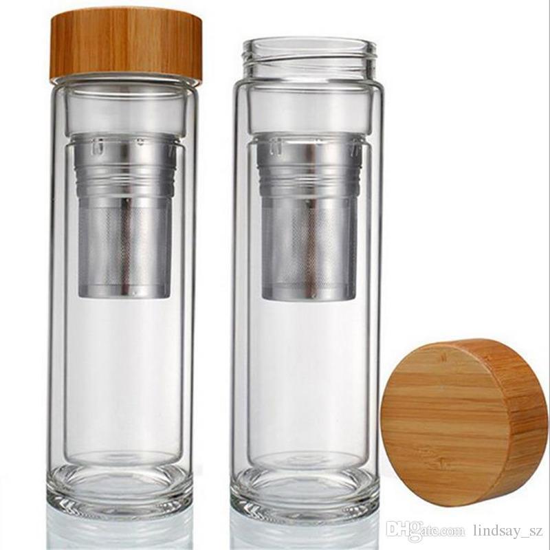 400ML غطاء الخيزران مزدوجة الشاي الزجاج بهلوان بهلوان. يشمل مصفاة و infuser سلة زجاجات المياه الشحن السريع