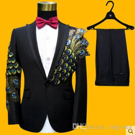 jacket+pants+tie+belt male suit groom wedding prom party Sequins red black instrument slim costumes blazers Applique flower formal clothes