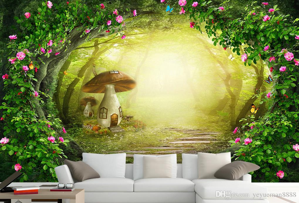 wallpaper wood design Custom modern paper wall decor Rose flower vine beautiful forest TV sofa background wallb 3d wallpapers for wall