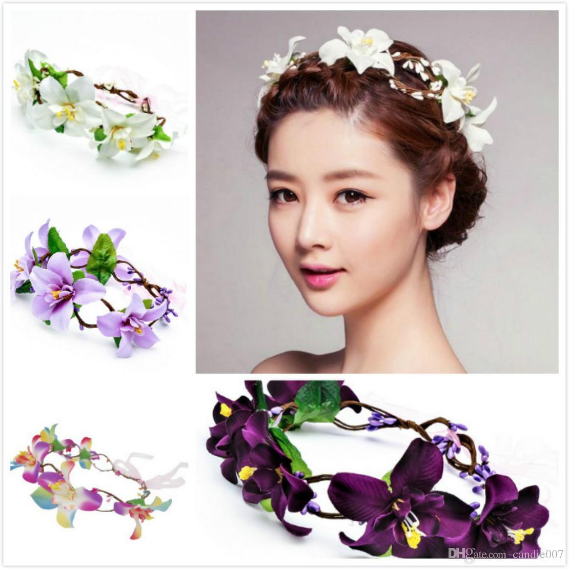Best Elegant Bridal Hair Wreath Halo Lily Flower Crown With ...