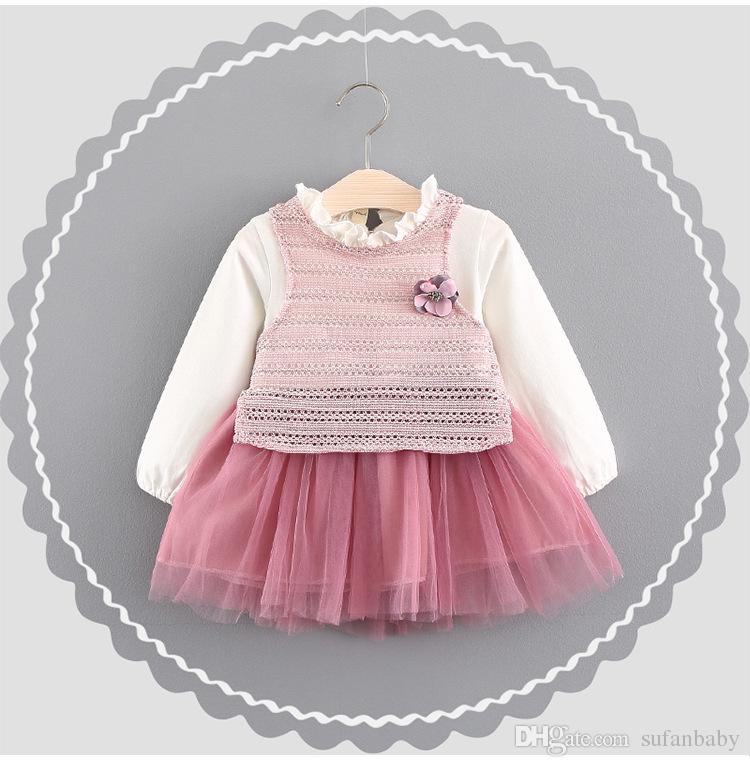 Compre Ropa De Bebé Niñas Empalme Vestido Del Velo De Punto Niña ...