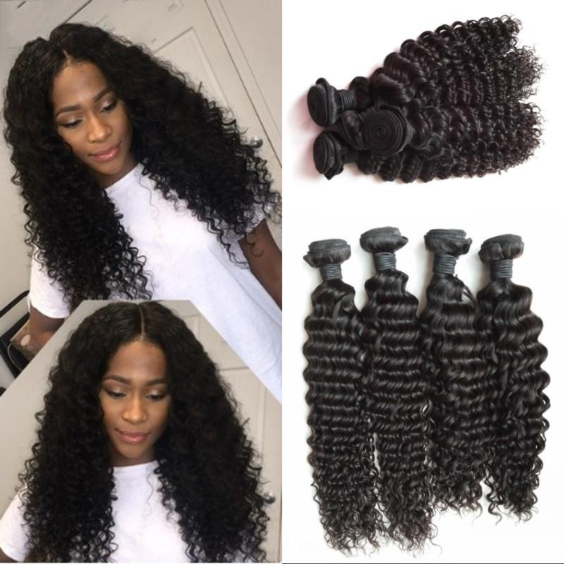 Deep Wave Mongolian Human Hair Weave Deep Curly 4 Bundles Natural