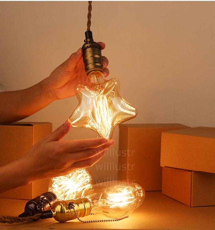 винтаж Эдисон лампы накаливания подвесной светильник классический подвесное освещение дооснащение Эдисон лампа промышленная звезда Алмазная форма сердца лофт