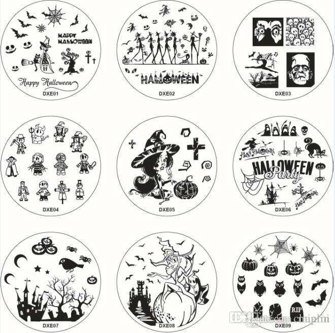 dxe series 60 images halloween christmas nail art stamping templates printing mold image printing transfer polish stamp plates stamp nail art design of nail - Halloween Art Templates