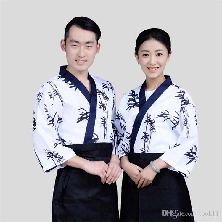 4ab194c10ef Fashion bamboo women sushi chef uniform fans men restaurant waitress  uniforms Korea japanese chef coffee hotel food service cook suit japan
