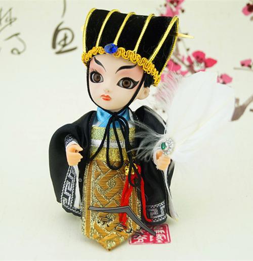 Beijing Jingwei dom presente boneca boneca de seda para a cultura do romance dos Três Reinos enfeites de bonecas de carro