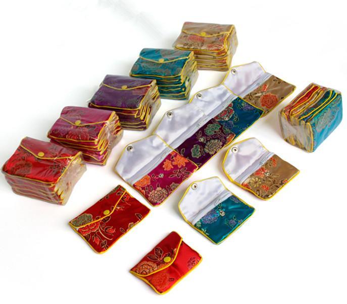 سحاب صغيرة عملة المحفظة الصينية الحرير القطيفة مجوهرات الحقيبة حقيبة هدية بطاقة الائتمان المرأة حامل حقيبة بالجملة 8X10 سم 10x12 سم 12p جيم / الكثير