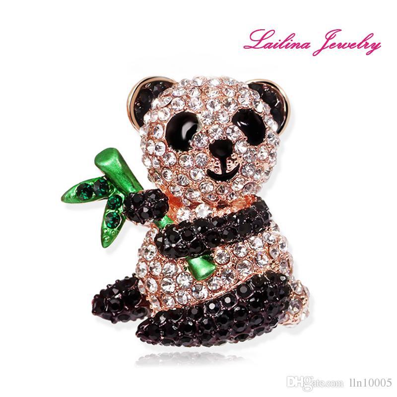Wholesale Bamboo Panda Brooch Pins Full of Black and White Crystal Rhinestone Brooches Birthday Gift