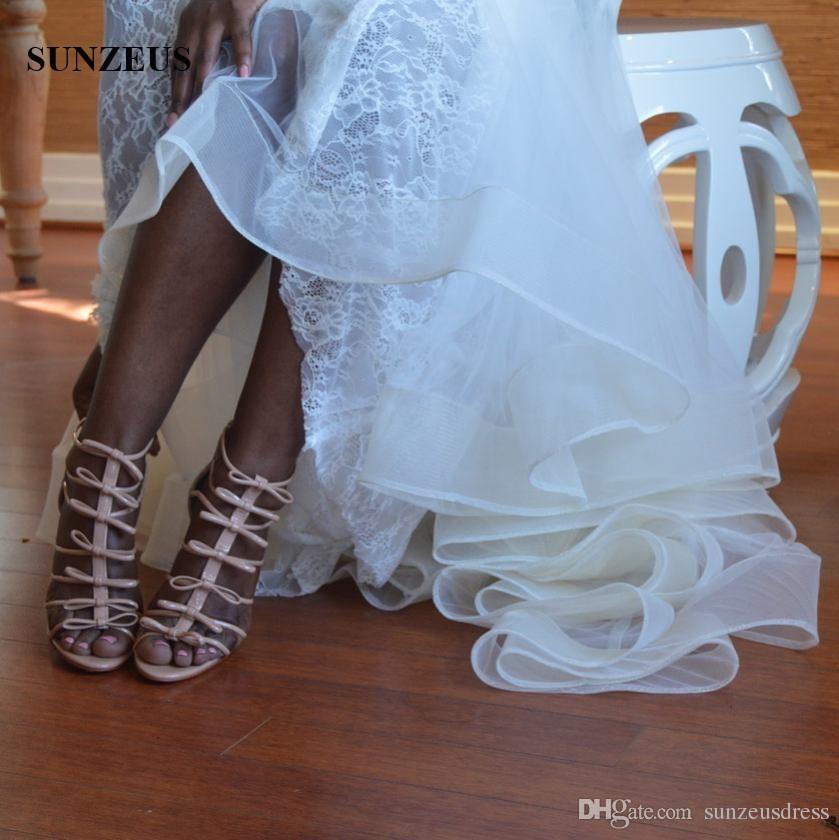 Spitze mit langen Ärmeln Brautkleider Meerjungfrau tiefem V-Ausschnitt Brautkleider mit Appliques afrikanischen Frauen Ehe Kleid versandkostenfrei