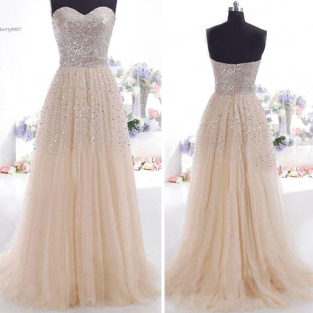 Designer Wedding Dress Women Clothes Evening Gown Strapless Sequins ...