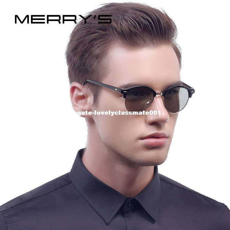 0e549c6fe2 MERRY S Men Retro Rivet Polarized Sunglasses Classic Brand Designer Unisex  Sunglasses Half Frame S 8054 Sunglasses At Night Lyrics Glasses For Men  From ...