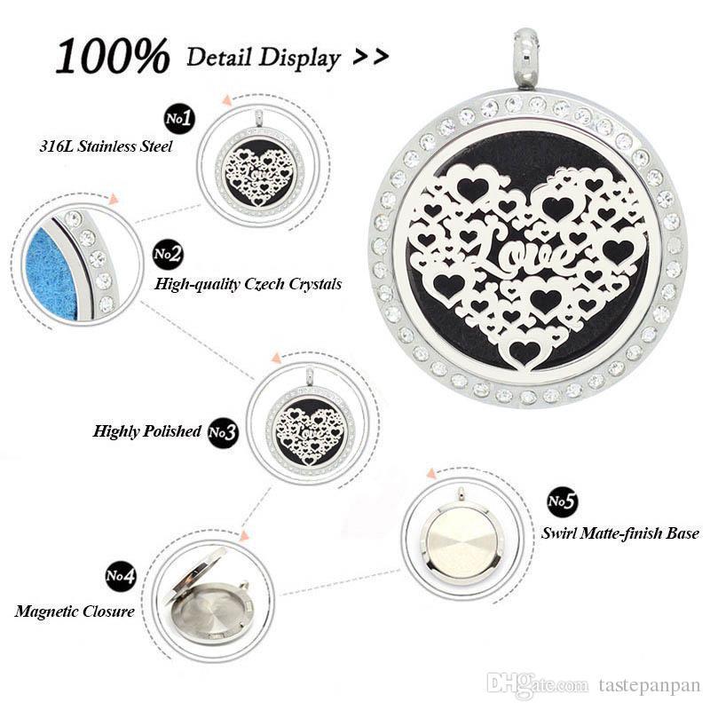 Новое прибытие! 30 мм магнитный духи медальон для любителей нержавеющей стали 316L масло диффузор ожерелье плавающей ароматерапия кулон
