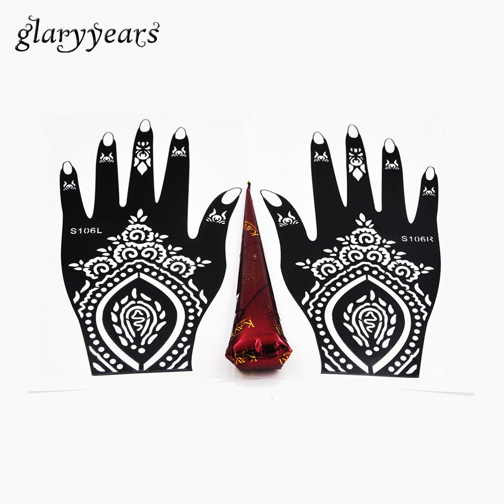 779a980202b6 Wholesale-1 Pair Hands Henna Stencil + 1 Piece Brown Color Henna Paste  Flower Lace Hollow Decal Mehndi Tattoo Stencil Hands Art Paint Draw