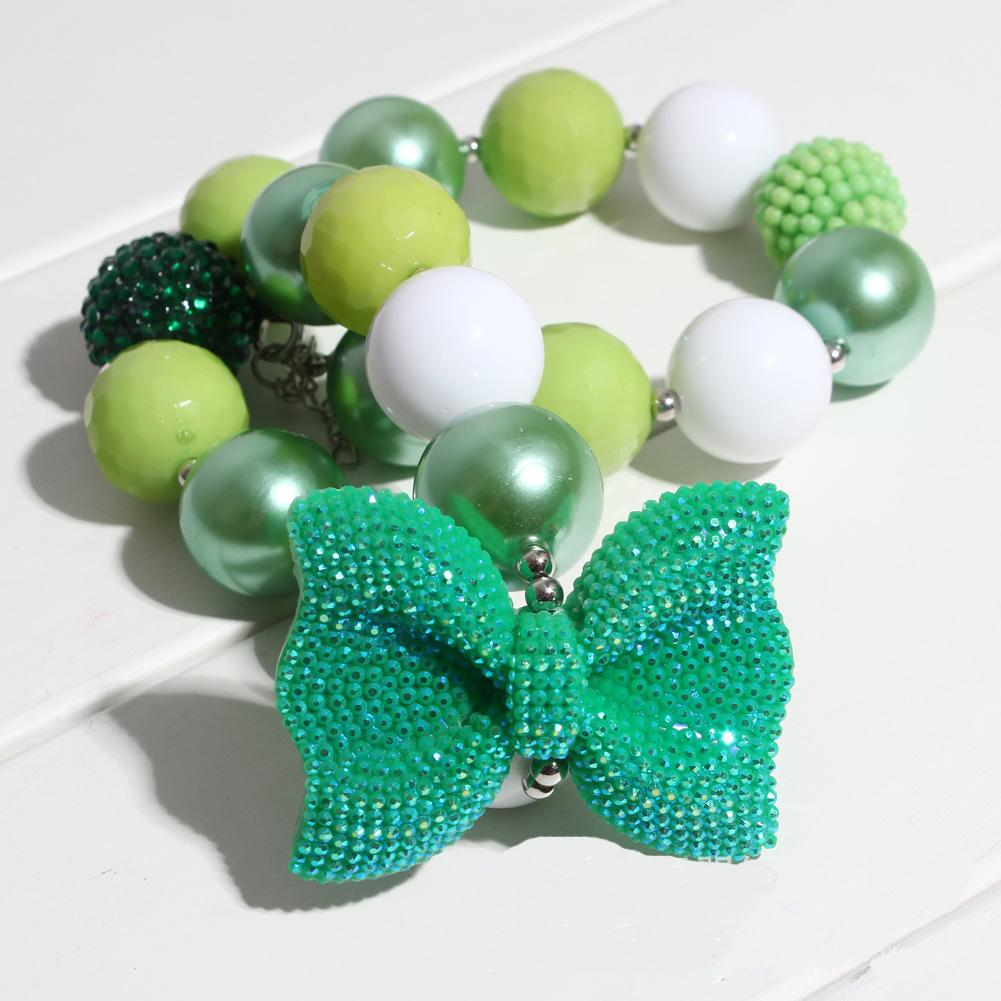 Girls Christmas tree Necklace Kids Gifts for Party Chunky Bubblegum Beaded Necklace and Elastic Headband Set