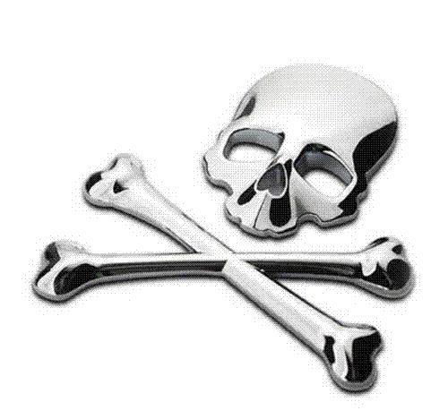 3D 3M Skull Metal Skeleton Crossbones Car Motorcycle Sticker Label Skull  Emblem Badge car styling stickers accessories decal