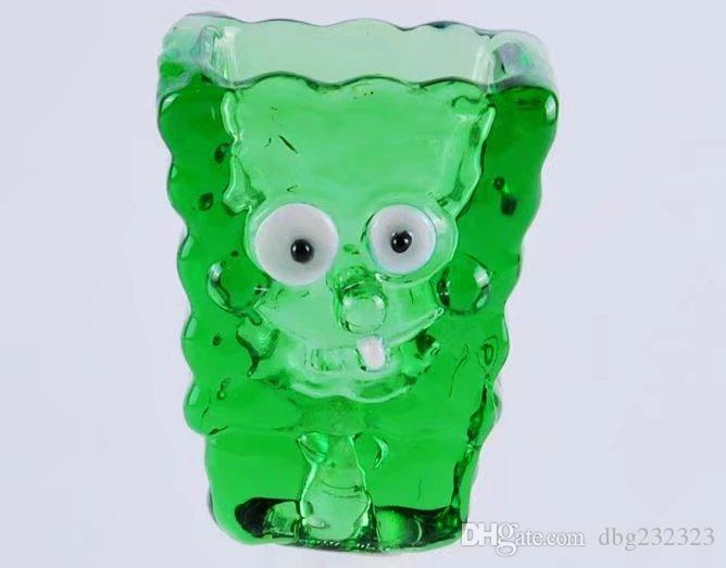 Cabeza de dibujos animados verde, bongs al por mayor Tubos de petróleo Tubos de agua Tubos de agua Tubería de vidrio Plataformas de aceite Fumar envío gratis