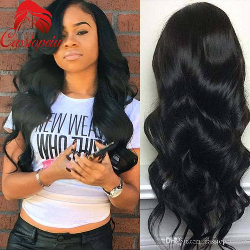 Brazilian Virgin Human Hair Body Wave Full Lace Wig With Bangs Left Part Glueless Lace Front Wigs For Black Women 8A Grade