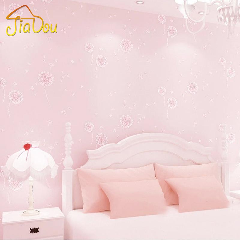 Dandelion Girls Bedroom Wallpaper Kids Non Woven Embossed Glitter ...