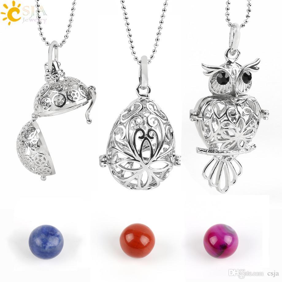 CSJA ожерелье медальон кулон эфирное масло диффузор духи ожерелья с драгоценными камнями шарик ароматерапия исцеление ювелирные изделия DIY делая E503