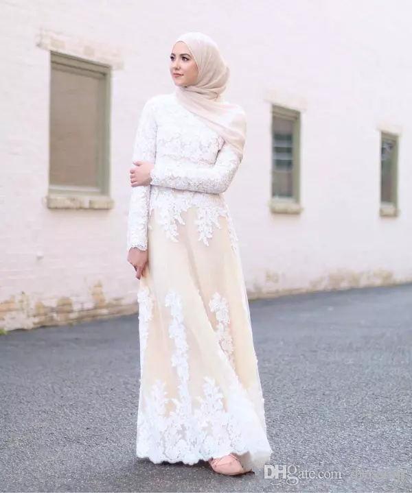 d1a72b2b7dee1 Elegant Long Sleeves Muslim Evening Dresses High Neck White Lace Applique Prom  Gowns Long Dubai Arab Floor Length A Line Formal Party Dress Elegant Formal  ...