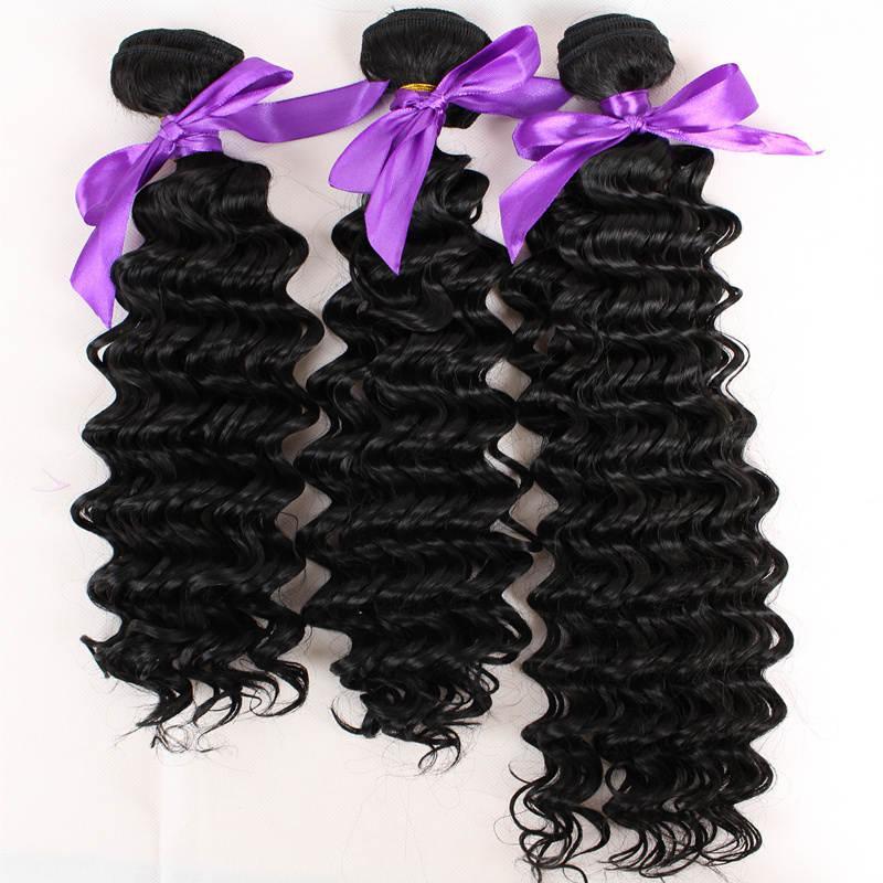 Il colore naturale 1B 3bundles della fibra di trama dei capelli dell'onda profonda del grado l'intera estensione sintetica del tessuto dei capelli della testa libera il trasporto