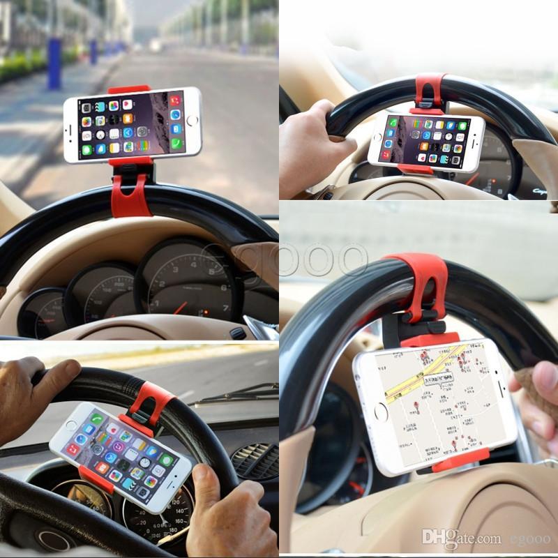 سيارة عجلة القيادة حامل الهاتف كليب سيارة دراجة جبل حامل القوس العالمي للآيفون 6 6S زائد 5 الهاتف الخليوي GPS