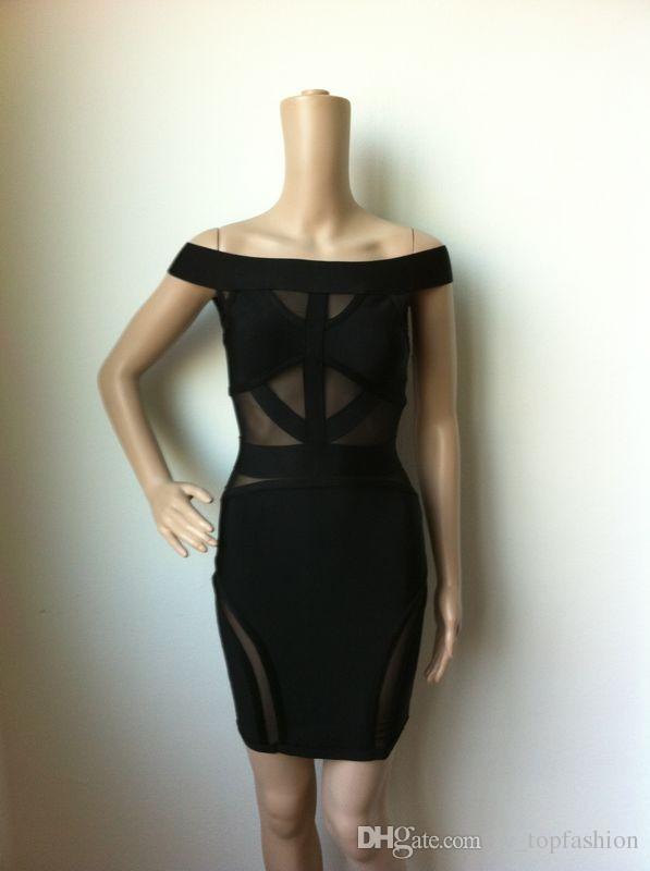 4 цвета высокое качество белый красный и черный с плеча повязку платье знаменитости Bodycon платье