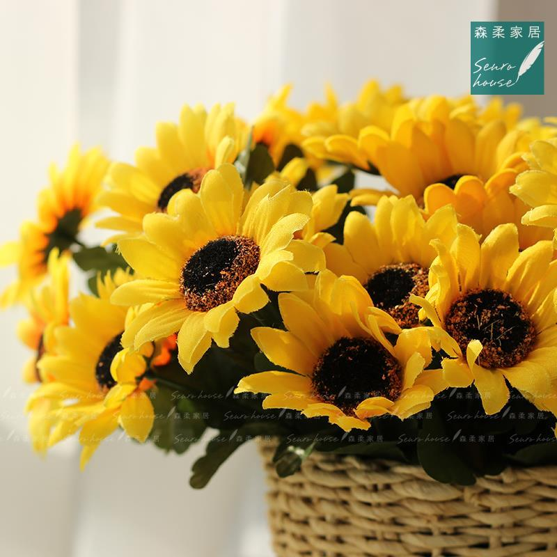 Wholesale-1 Bouquet Yellow Silk Sunflower Decorative Flower 7 Branch ...