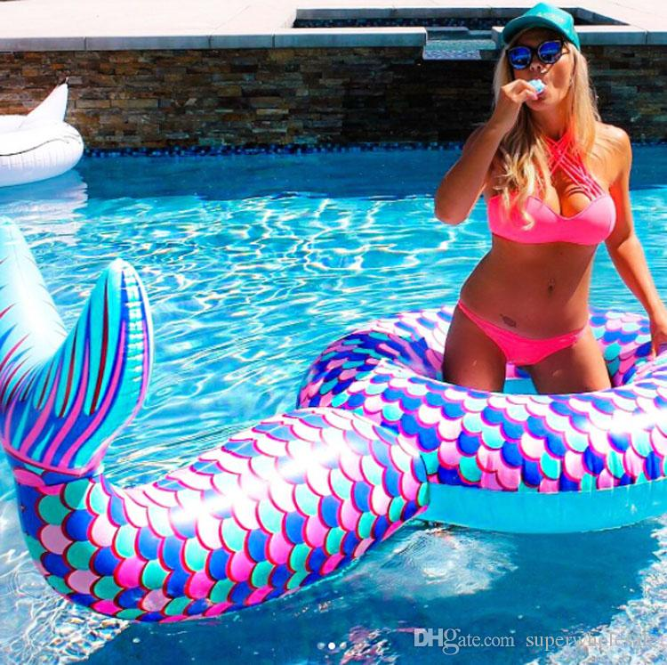 Mermaid Tail Pool Floats Large Outdoor Pool Floats Swimming Pool Floats for Adults Kids Party Decorations 180cm
