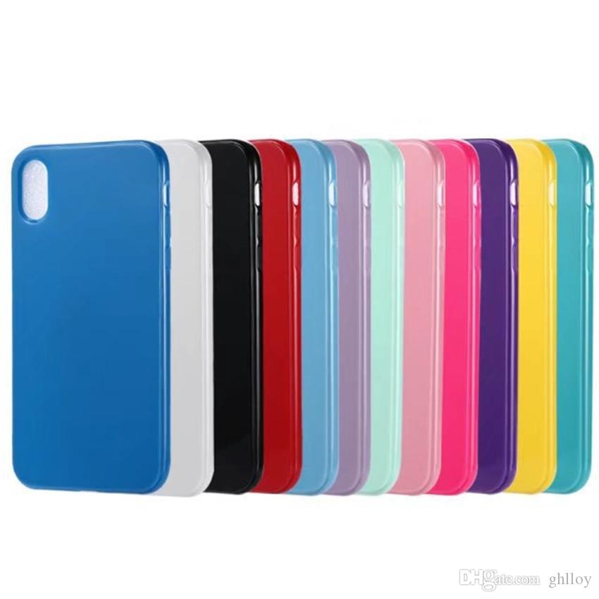 best cheap 73aa2 2c222 For iphone 8 Candy Glossy Soft TPU Case Silicon Colorful Case Back Cover  For iphone 8 Cell Phone Case