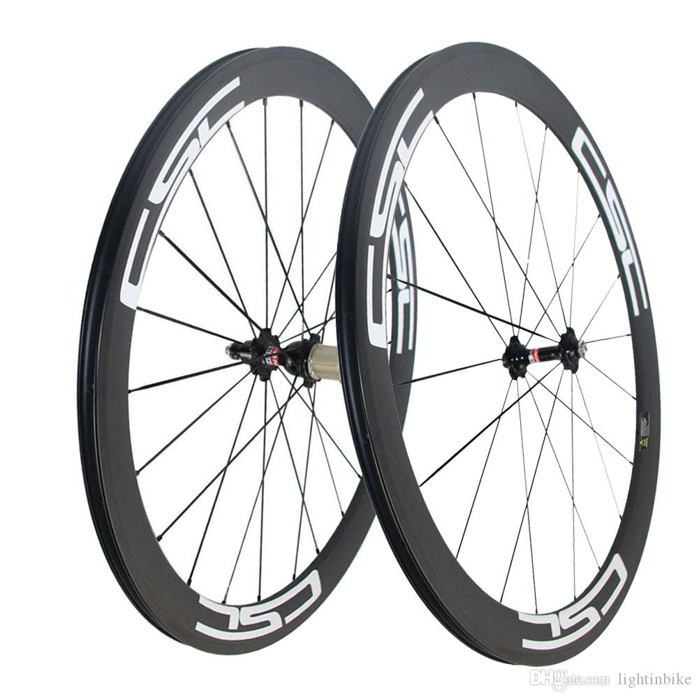 CSC Carbon Road Bike wheels 50mm Clincher wheelset Novatec hub with CN spokes Basalt Brake Surface Carbon road bicycle bike wheels