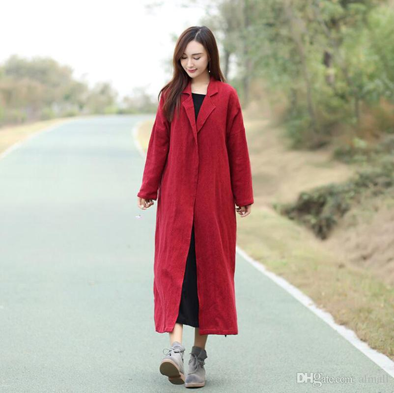 66f97f4974 2019 Coat For Women Red Black Color Cotton Linen Casual Women S Trench Coat  Long Outerwear Loose Clothes For Lady Autumn From Almall