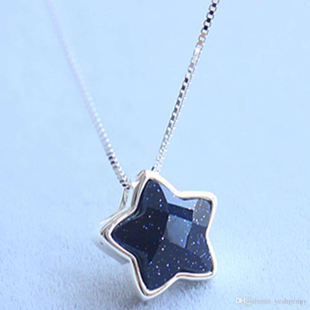 Wholesale solid 925 sterling silver star pendant necklace 8mm wholesale solid 925 sterling silver star pendant necklace 8mm aventurine gemstone jewelry women best gift wholesale 2017 turquoise jewelry wholesale jewelry aloadofball Images