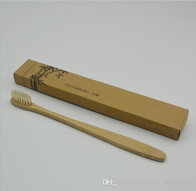 De haute qualité en bambou naturel Brosse à dents dents protection de l'environnement de la santé en bambou Poignée souple Brosse à dents Voyage Hôtel Utilisation