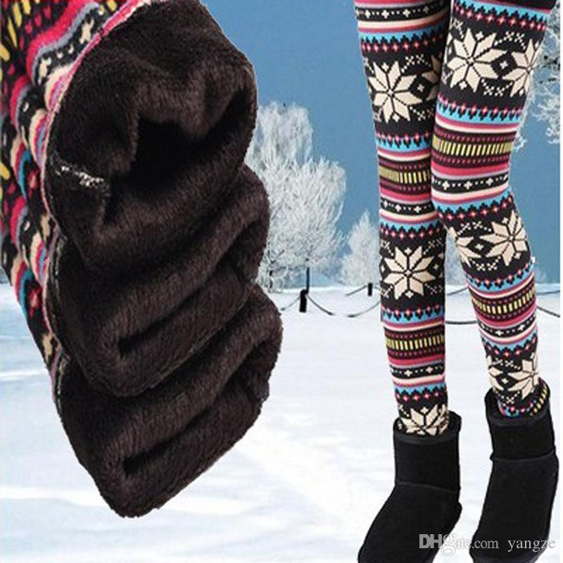 dbfe1b4cea81e2 2019 Womens Autumn Winter Leggings Snowflake Elk Printed Stretchy Fleece  Lining Warm Thermal Tights Pants Cashmere Christmas Leggings Plu Size QT  From ...