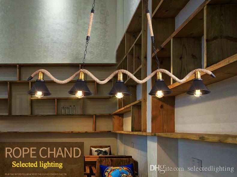 Новое поступление веревка подвесные светильники лофт промышленное освещение ресторан огни подвеска ретро светодиодные подвесные светильники 3/5 головы