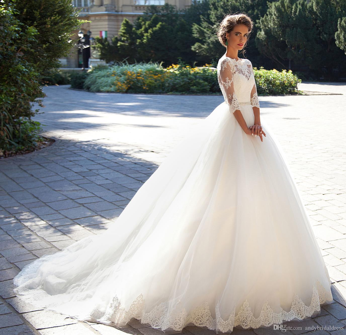 Modest Vintage Lace Millanova 2019 Wedding Dresses Bateau With Half Long Sleeves Pearls White Tulle Wedding Ball Gowns Cheap Bridal Dresses