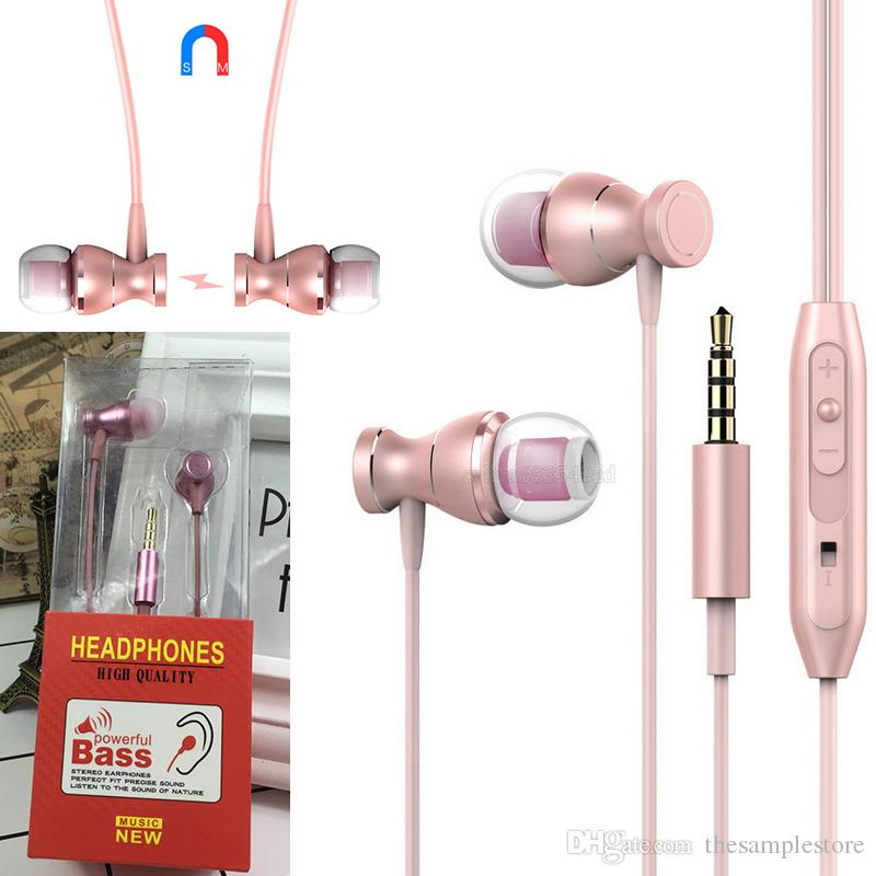 3.5mm earphone magnetic headphones Metal Super Bass Stereo ear buds headset With Mic For android smart phones retail package