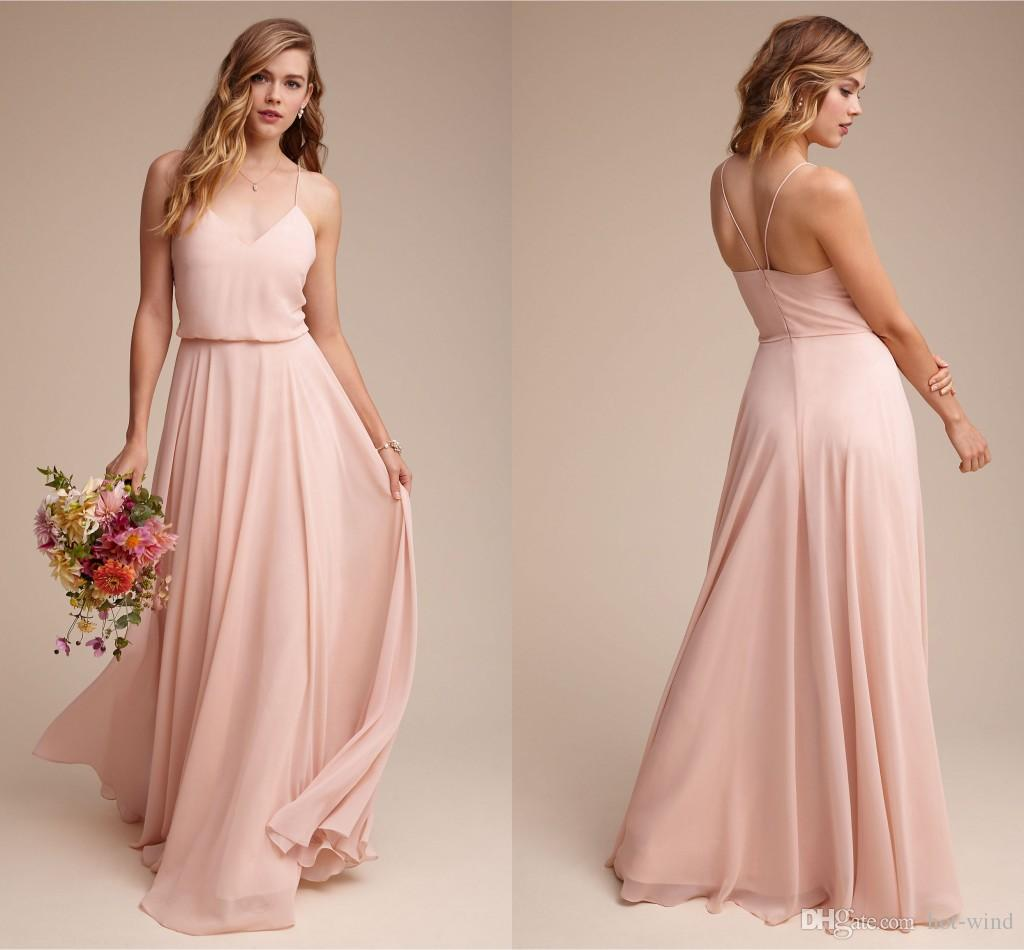 Blush pink elegant a line chiffon bridesmaid dresses 2017 straps 2017 straps spaghetti low back zipper maid of honor gowns cheap wedding guest dresses maternity bridesmaids dresses off the rack bridesmaid dresses from ombrellifo Gallery