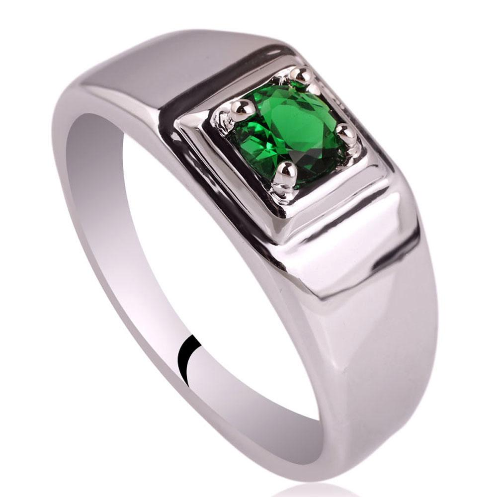 Rhodium Plated Men\'s Solid 925 Silver Ring New 5.5mm Simulated ...